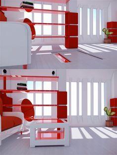Motorized Floor Storage Lift   #storage #interiordesign #designideas Geek Home Decor, Home Automation, Space Saving, Storage Spaces, Innovation, Bookcase, House Design, Flooring, Button