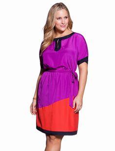 Colorblock Batwing Dress