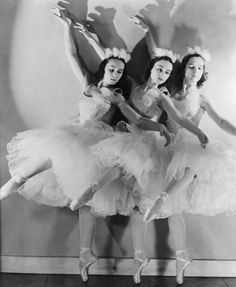 Ballet dancers from the Ballet Russe de Monte Carlo rehearsing the Nutcracker in 1940.