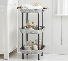 Shop Pottery Barn for expertly crafted small dining room furniture. Find small dining tables, chairs and more perfect for a small space or apartment. Pottery Barn, Walk In Shower Designs, Decoration Design, Bathroom Shelves, Bathroom Mirrors, Glass Shelves, Houzz Bathroom, Bathroom Beadboard, Bathroom Table
