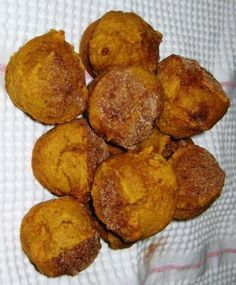 Healthy pumpkin muffins- doubled the recipe, using only one can of pumpkin, half oil/half unsweetened applesauce, half regular flour/half whole wheat flour. Very tasty!