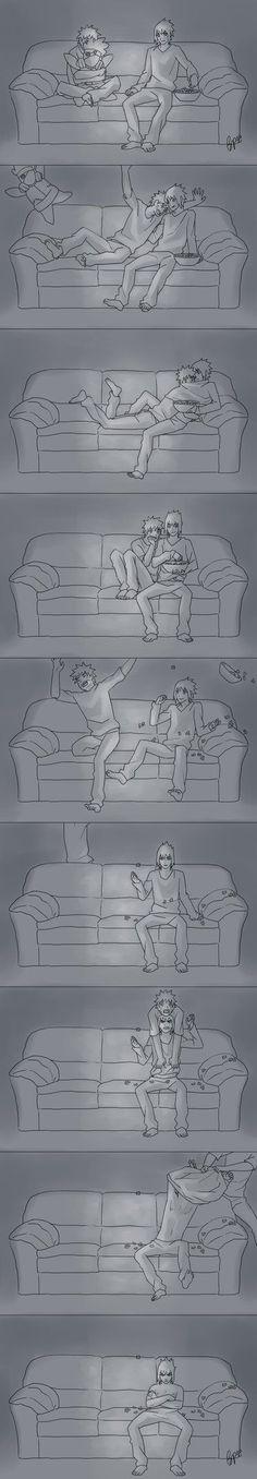 Lição de moral...nunca assista filme de terror com o Naruto