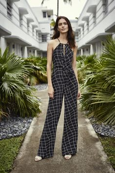 Windowpane Halter Jumpsuit