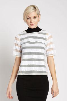 Samyukta Sequin Stripe Top