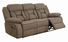 Coaster Houston Collection 602265 75 Inch Reclining Loveseat with Storage Console, Baseball Stitching, Split Back Cushion and Microfiber Upholstery in Tan Coaster Furniture, Sofa Furniture, Living Room Furniture, Living Rooms, Sofa Sale, Reclining Sofa, Seat Cushions, Recliner, Storage Spaces