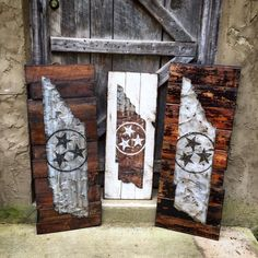 We love sharing our unique Tennessee barn tin signs since these are made from our old barn. We only use reclaimed pieces for these big boys. Weathered barn tin and 60yr old wood that's topped off with our Tennessee tristar painted and distressed in white. 3' & 4' sizes. *COPYRIGHTED* Check out SignNiche on Instagram for all our latest signs, https://instagram.com/signniche/