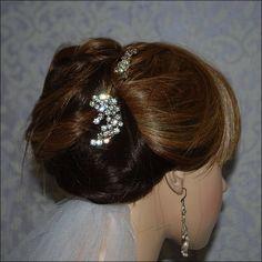 Bohemian Rose Gold Rhinestone Spray Comb & Bobby Pin Set Bridal Wedding Bride Hairpiece