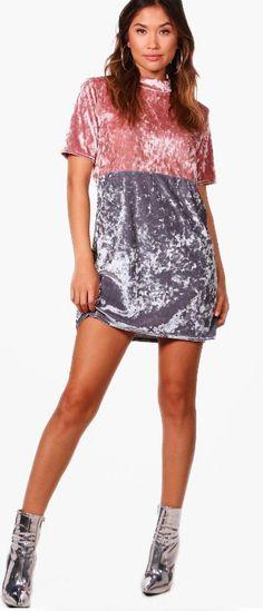 8476c075 Boohoo Caroline Colour Block Velvet Shift Dress Size 14 LS170 MM 04  #fashion #clothing