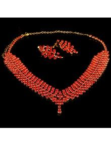 Beauitful Alloy with Red Rhinestones Wedding Jewelry Set, Including Earrings and Necklace