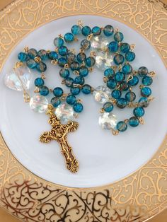 Teal Rosary Crystal Beads Gold-Plated by AwfyBrawJewellery on Etsy
