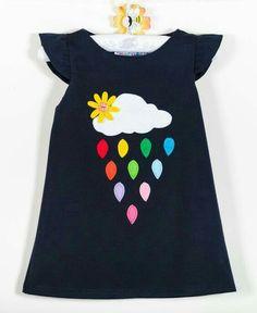 Toddler girl dress, clouds and rainbow rain, colourful clothes, autumn winter clothes, children clot Toddler Girl Dresses, Little Girl Dresses, Girls Dresses, Baby Dresses, Dress Girl, Girl Toddler, Toddler Fashion, Fashion Kids, Fall Fashion