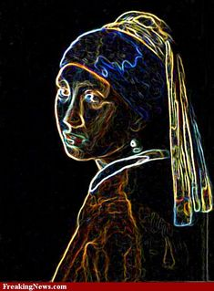 An electric abstraction of Girl with a Pearl Earring.