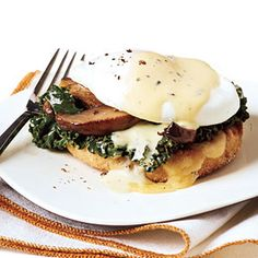 Vegetarian Benedicts with Thyme Sabayon | MyRecipes.com #myplate #protein #dairy
