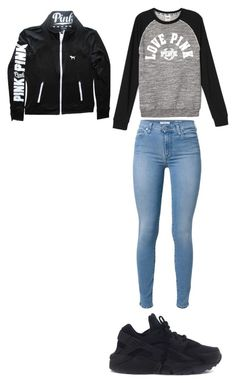 """When You Dont Know What To Wear So You Jus Throw On Sum"" by youcancallmejay77 ❤ liked on Polyvore featuring 7 For All Mankind, Victoria's Secret and NIKE"