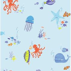 Underwater Fun Blue Fun children's wallpaper from Arthouse's Imagine Fun Collection. Underwater themed wallpaper with bright creatures and glossy highlights Plain Wallpaper, Embossed Wallpaper, Wallpaper Paste, Wallpaper Panels, Kids Wallpaper, Textured Wallpaper, Wallpaper Roll, Wall Wallpaper, Glitter Wallpaper