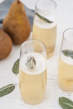 Pear + Ginger-Sage Champagne Cocktails - Dishing Up the Dirt