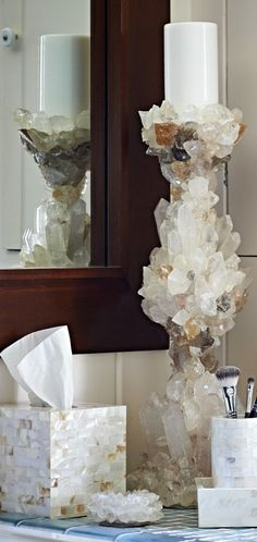 Artisans at Nate Ricketts Design hand-select and exceptionally arrange clear quartz crystal points in our refined Clear Quartz Pillar Candlestick.