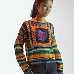 70s vintage womens sweater Crocheted BOHEMIAN by rockstreetvintage, $58.00
