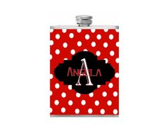 Personalized Flask Name Monogram Polka Dot by BottomsUpFlasks, $15.00