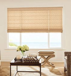 A subtle pattern on your roman shades can add depth to your elegant home décor. Earth tones  combined with natural elements create an oasis custom made just for you.