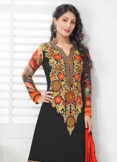 Marvelous Designer Salwar Suit by Heena Khan Black Salwar Kameez, Churidar Suits, Anarkali Suits, Designer Anarkali Dresses, Designer Salwar Suits, Pakistani Dresses, Suit Fabric, Party Wear Dresses, Girl Outfits