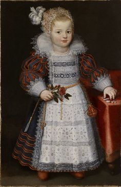 Dutch School, early 17th century.  Portrait of a Young Girl with a Chatelaine.