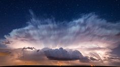 Stars behind the storm (Credit: Brad Goddard, Orion, IL/NOAA)