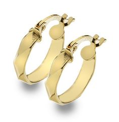 9ct Gold Twisted Faceted Hoop Creole Earrings (003051)