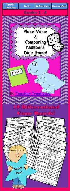 FREEBIE! - A simple and fun game to help kids understand place value and comparing numbers! Included are 10 differentiated boards for students 1st through 4th grade! Students will learn place values: - Ones - Tens - Hundreds - Thousands - Ten Thousands - Hundred Thousands - Millions - Tenths - Hundredths - Thousandths