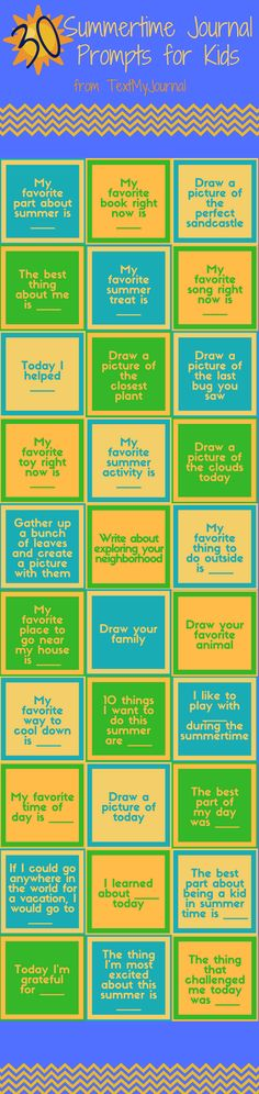 30 Summertime Journal Prompts for Kids | TextMyJournal