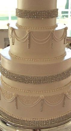 Discover the best ideas for Cake & Desserts! Read articles and watch videos about Cake & Desserts. Bling Wedding Cakes, Bling Cakes, White Wedding Cakes, Wedding Cupcakes, Amazing Wedding Cakes, Amazing Cakes, Diamond Cake, Couture Cakes, Gorgeous Cakes