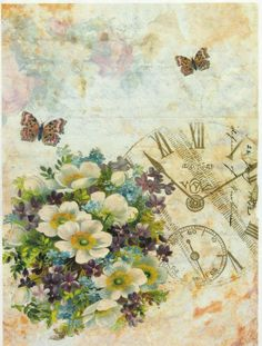 Ricepaper / Decoupage paper, Scrapbooking Sheets Flovers and Clock