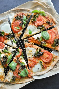 Rye Crust Pizza with fresh Tomatoes and Curly Kale