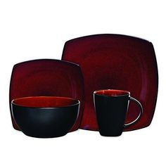 Dinnerware Set 16 Pcs Steel Soho Lounge Square Reactive Glaze Microwave Safe Red #Gibson