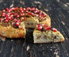 Quinoa Olive Focaccia Crust Pizza with Israeli Za'atar, Caramelized Onions and Pomegranate