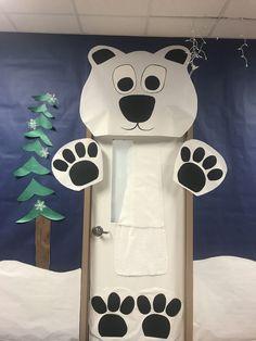 Polar Bear classroom door Homecoming Decorations, School Door Decorations, Bear Theme Preschool, Preschool Art, Arctic Decorations, Polar Bear Party, Halloween Classroom Door, Fair Theme, Polar Animals