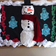 Winter helper board in my class! Winter Bulletin Boards, School Bulletin Boards, Future Classroom, Classroom Decor, Project Ideas, Craft Ideas, Hallway Art, Winter Art Projects, Winter Ideas
