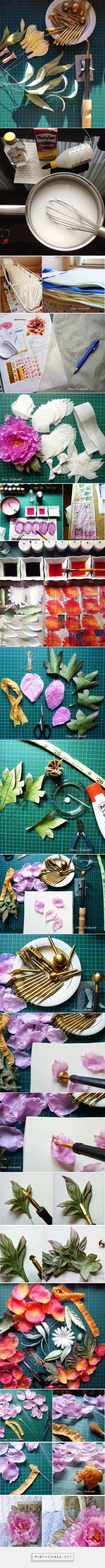 Шелковые фантазии и...: Как сделать цветок из шелка? http://silkflower-accessories-and-deko.blogspot.ru/2014/07/How-to-make-a-silk-flower.html