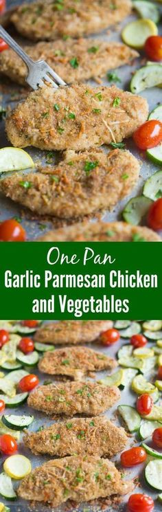 This easy and delicious One Pan Garlic Parmesan Chicken and Vegetables includestender breaded chicken tenders and fresh seasonal vegetables all roasted on just one pan. An easy dinner recipe your entire family will love! | Tastes Better From Scratch