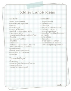 Toddler lunch ideas - nothing revolutionary, but a few good ideas.