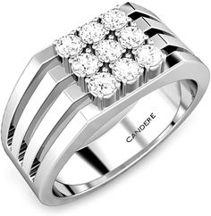 0.45 ctw Round Cut Natural Diamond .925 Sterling Silver Fine Ring for Men.  #ring #jewelry #SterlingSilver