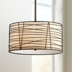 "Munroe Wire Wrapped Burlap 18 1/4"" Wide Bronze Pendant Light - #6D069 