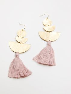 Bryce Canyon Tassel Earrings Statement earrings brass geometric shapes with a delicate cotton tassel accent. * Hook closure * American made Body Jewelry, Jewelry Box, Jewelery, Jewelry Accessories, Fashion Accessories, Fine Jewelry, Jewelry Design, Fashion Jewelry, Jewelry Making