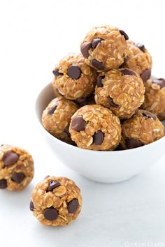 No-Bake Energy Bites!  Mom used to make something like this for us.  Use less honey, add milk powder for extra protein, add various nuts, seeds, and raisins for variations.