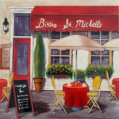 'Bistro St. Michelle' MARCO FABIANO Cafeteria Paris, Watercolor Landscape, Watercolor Art, Coffee Bars In Kitchen, House Painting, Wine Painting, Painting Art, Cafe Art, French Cafe