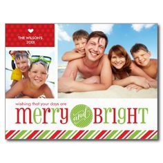 2 PHOTO FAMILY HOLIDAY CHRISTMAS POSTCARD :: merry & bright in red and green...  Have yourself a trendy little christmas this year with these DIY templates personalized available for purchase