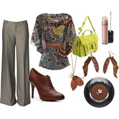 Teacher Style - Browns, Greys, and Chartreuse, created by becka-boo1220 on Polyvore