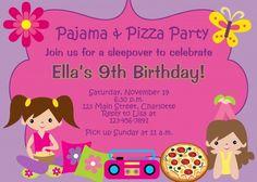 Pizza y los pijamas fiesta de pijamas fiesta de cumpleaños de la invitación - fiesta de pijamas
