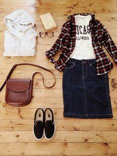 アクセサリー/atelier bloom 淡水パールちょうちょネックレス シャツ/nano・universe トップス/ZARA boys スカート/B'MING LIFE STORE by BEAMS bag/affordance shoes/VANS #DenimSkirts #PlaidShirt #Style #Fashion #Casual #Outfits #Spring #Women