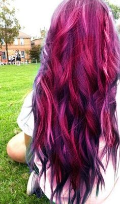Multi-dyed color hair, shades of violet, pink, and dark purple